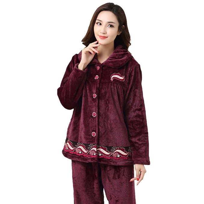 MOXIN La mujer pijama gruesa franela Coral Fleece otoño cálido invierno Pijama femenino Pijamas Mujer pijamas