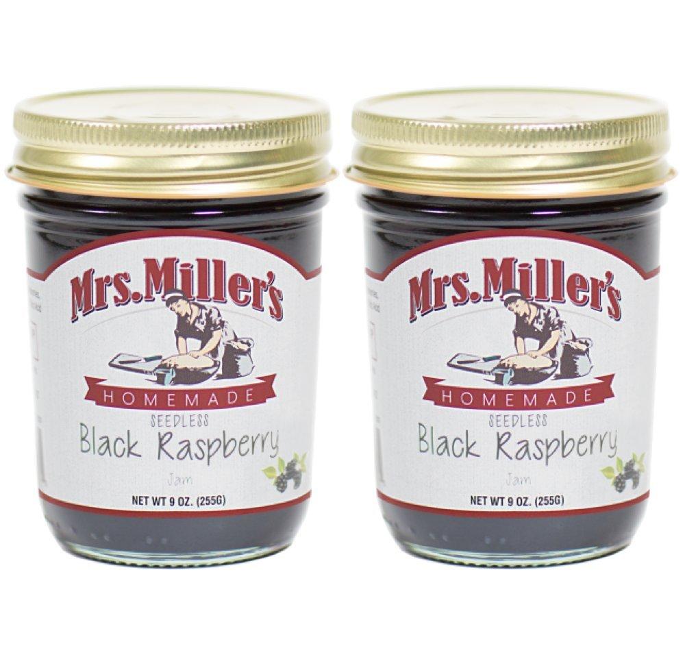 Mrs. Miller's Amish Made Seedless Black Raspberry Jam 9 Ounces - 2 Pack