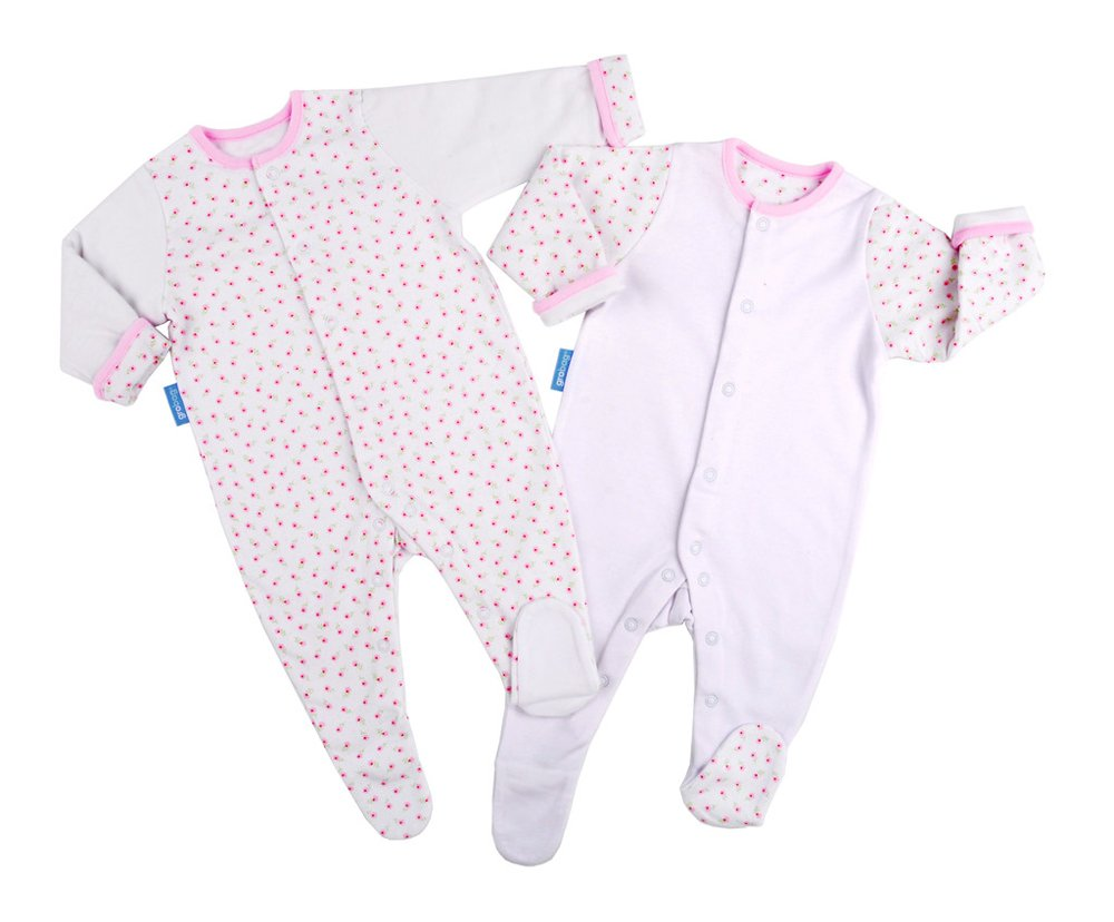 GroSuit BBA14403 Pink Hearts Twin Pack Pigiama, Multicolore, 0-3 Mesi The Gro Company