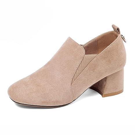 Zapatos para mujer HWF Zapatos de tacón Medio de otoño tacón Alto con Punta Cuadrada (