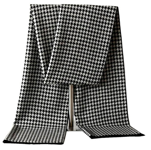 CHTIE Brushed Warm Soft Cashmere Feel Men's Scarf Winter (Black white) Brushed Wool Scarf
