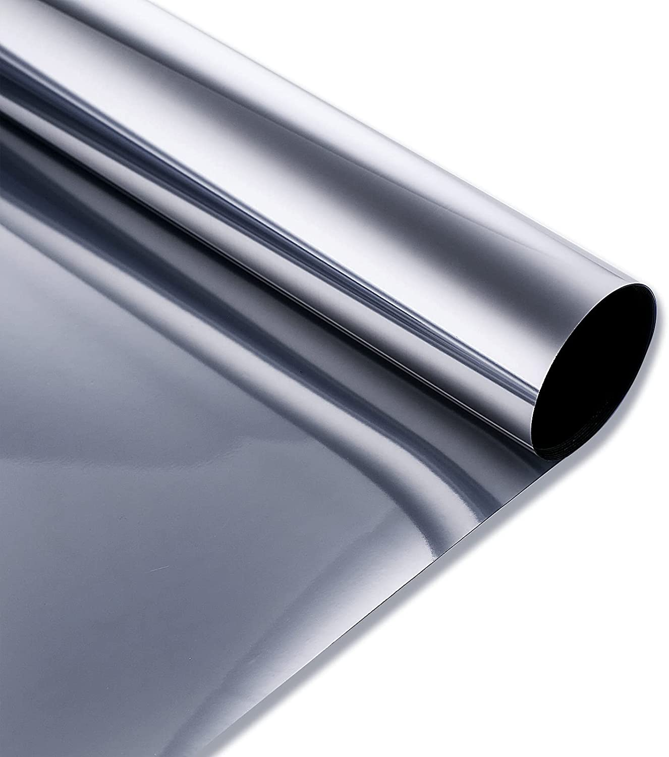 Window Tint for Home CYPSIN One Way Mirror Film Non Adhesive Static Cling Privacy Protection Window Heat Blocker 17.5 Inch x6.5 Feet,Silver