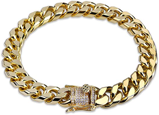 Gold Plated diamond Iced Out cuban Chain bracelet  6/'/' 7/'/' 8/'/' 9/'/' 10/'/'
