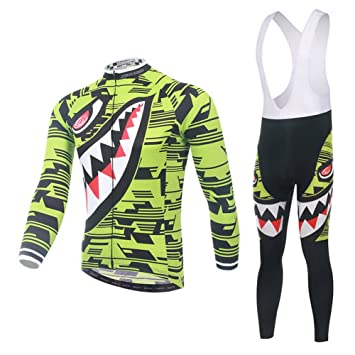 HomehugTextile Unisex Fahrrad Jersey Herbst Trikot Set Atmungsaktiv  Radbekleidung Mit 3D Kissen Gepolsterte Hai Muster Lange