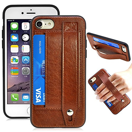 Cucell iPhone 7 Case Wallet Case Stand Cover,Hybrid Ultra-Slim Soft Premium PU Leather TPU Silicone Case with Credit Card Holder Kickstand Magnetic Closure (Brown)