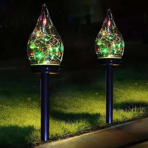 Solar Lights Outdoor Color Changing Solar Pathway Lights Outdoor Solar Garden Lights for Patio, Yard, Driveway 2 Pack