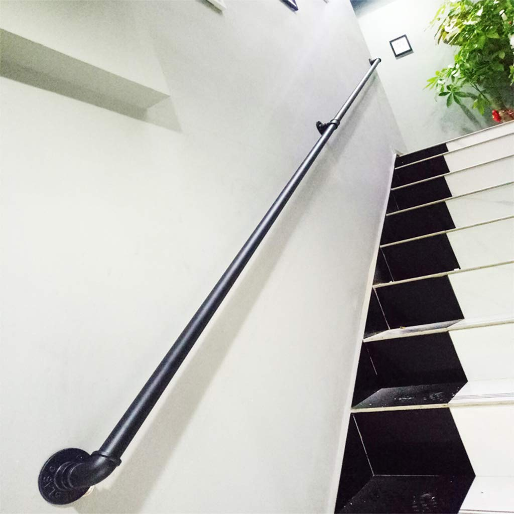Staircase Handrails Wrought Iron Wall Brackets Safety Non-Slip Indoor Pipe Stair Railing Grab Bar Matt Black Powder Coat with Complete Kit