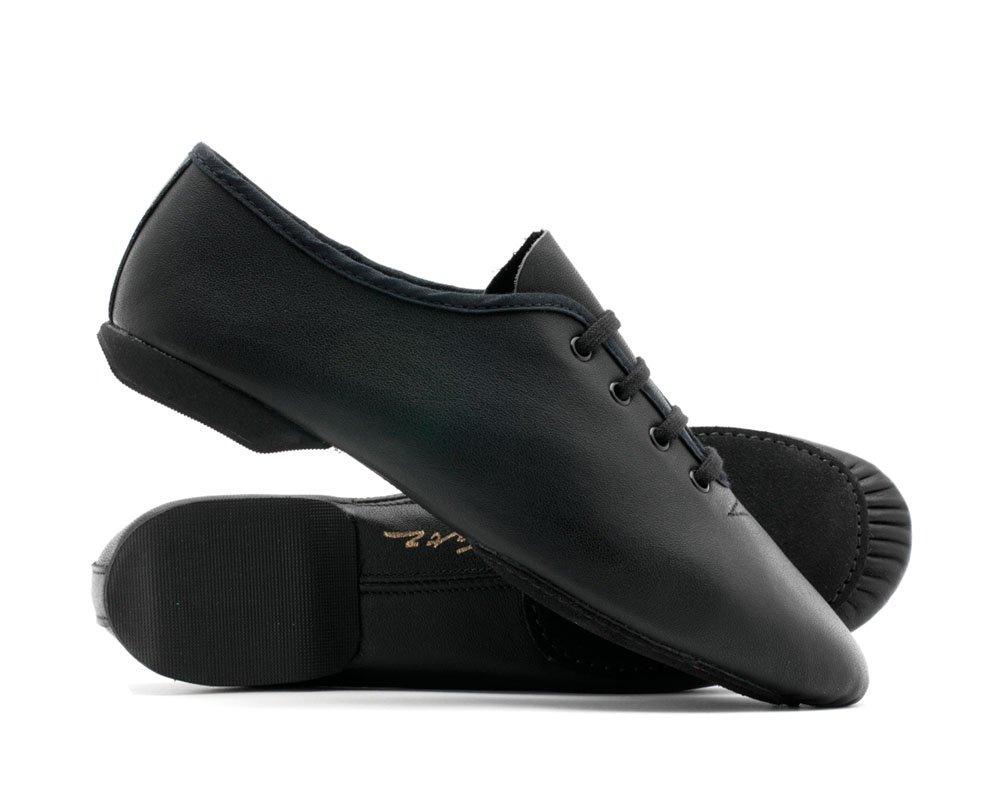 Black Leather Split Sole Dance Stage Jazz Modern Shoes By Katz Dancewear (Adults Size UK 8)