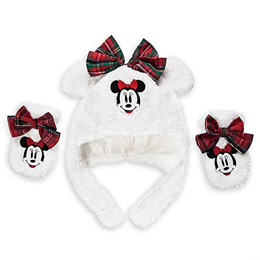 ... new design 7474e bc092 Disney Store Minnie Mouse Holiday Christmas Hat  and Mitten Set For Baby ... c7c8aff54f0a