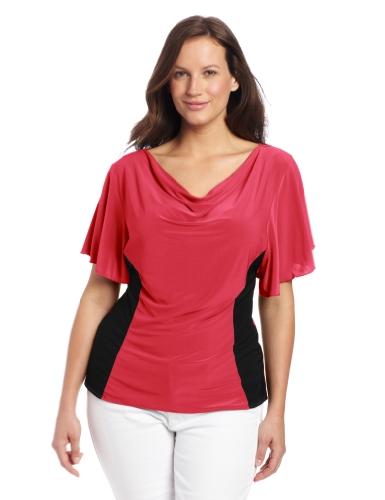 Star Vixen Women's Plus-Size Flutter Sleeve Colorblock Top, Coral/Black, 1X (Plus Tops Sleeve Flutter)