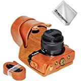FIRST2SAVVV 褐色 キヤノン Canon EOS M100 EOS M10 with (15-45mm Lens) 専用 PU 半分レザー レフ カメラバッグ カメラケース XJD-EOS M100-09