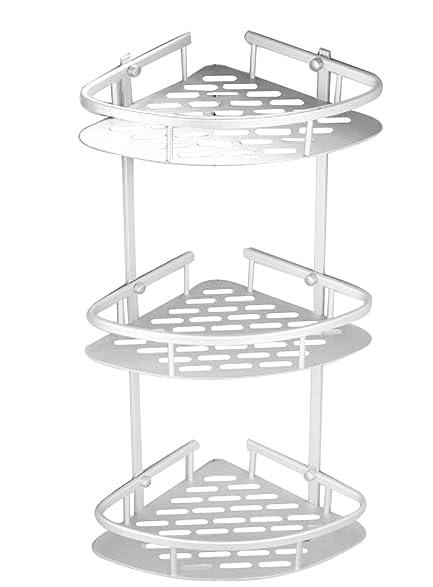 Bathroom Corner Shelf,3 Tier Shower Caddy Shelf Storage Rack Aluminum  Satina Corner Shampoo Basket