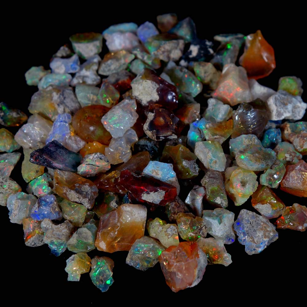 dadu_creation 100% NATURAL PLAY COLOR MULTI FLASHING ETHIOPIAN OPAL ROUGH LOT DADU-154