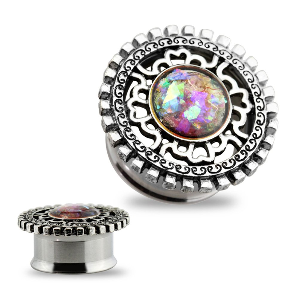 Dynamique Pair Of Double Flared Tunnels With Glitter Opal Centered Antique Silver Plated Shield Top 316L Surgical Steel