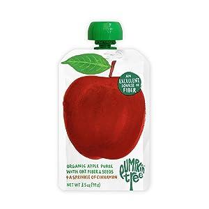 Pumpkin Tree Organics Fruit Snack Pouch, Apple + Fiber + A Sprinkle of Cinnamon – 3.5 Ounce (Pack of 10)