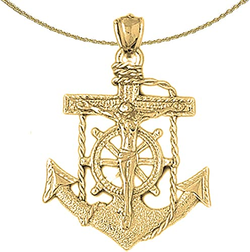 Jewels Obsession Anchor With Rope 3D Necklace 14K Yellow Gold-plated 925 Silver Anchor With Rope 3D Pendant with 16 Necklace