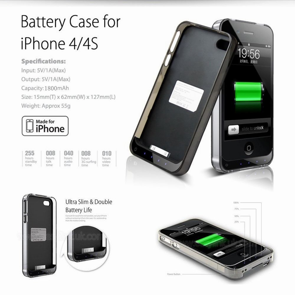 iPhone 4s Charger Case - iFansA® Apple MFi Certified 1800mAh ...