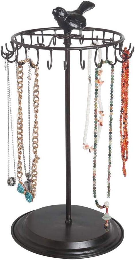 Amazon Com Black Bird Rotating Necklace Holder Bracelet Stand Jewelry Organizer Jewelry Tree Home Kitchen