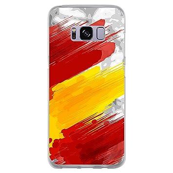BJJ Funda Transparente para [ Samsung Galaxy S8 ], Carcasa de Silicona Flexible TPU, diseño: Bandera españa, Pintura de brocha Sobre Fondo Abstracto