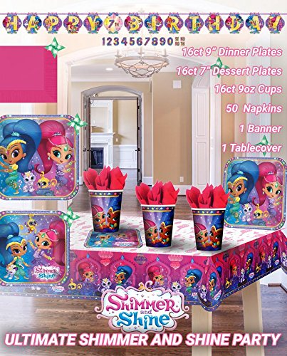 Ultimate Shimmer&Shine Party!!!Birthday Party Decoration Supply Bundle Pack with 16lg&16sm Plates 16-9oz Cups, Matching Table Cover&Jumbo Banner,50 Napkins(Bonus Matching Party Straw Pack) by Everyday Party Bundles (Image #8)