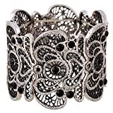 D EXCEED Christmas Ladies Gift Idea Vintage Lace Filigree Rhinestone Statement Cuff Bangle Bracelet for Women 7 Inches