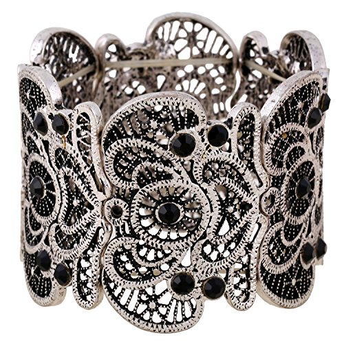 D EXCEED Vintage Metal Lace Pattern Etched Filigree Crystal Stretch Bangle Bracelet for Women 7