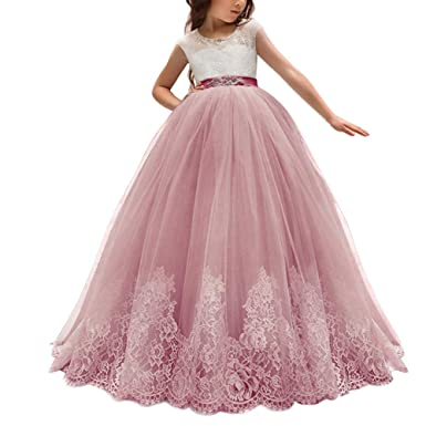 b1ee82ad2eef Little Big Girl Flower Lace Dress for Kids Wedding Communion Pageant Party  Formal Ball Gown Princess