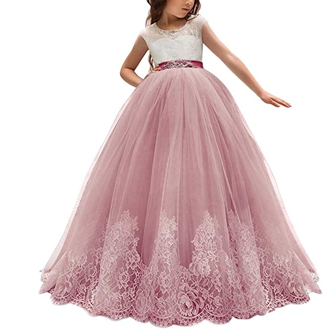 Amazoncom Flower Girl Lace Tulle Dress For Kids Wedding