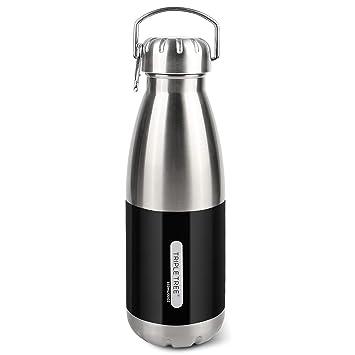 TRIPLE TREE Botella de agua, Botella de agua de acero inoxidable, Botella con aislamiento de vacío de doble pared 850ML Mantiene las bebidas frías y ...