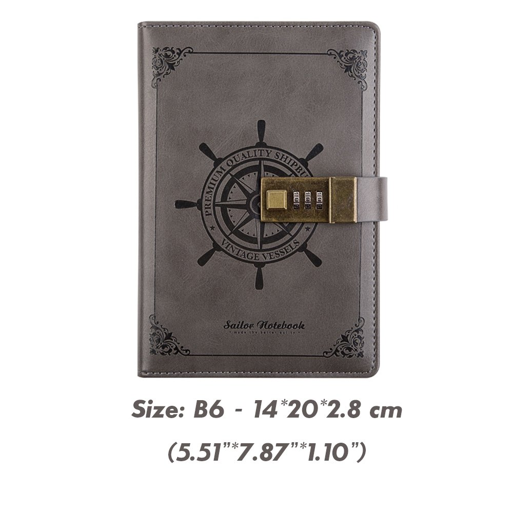 Light Grey ToiM Retro Business Notebook with A Password Lock Coded Lock for Diary Handbook Notepad Cahier Journal Great Stationery without Chinese Writing