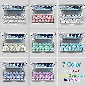 MOSTOP iPad Mini 2 / 3 Keyboard Bluetooth Slim Aluminum Wireless Keypad With 7-Color LED Soft Backlit for iPad Mini 2 / 3 (Silver)