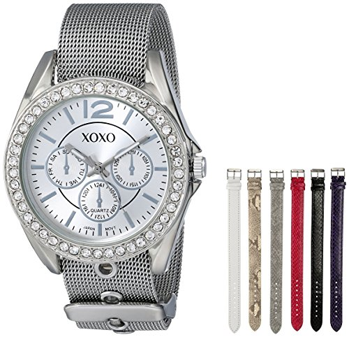 XOXO Women's XO9053 Rhinsetone-Accented Watch with Interchangeable Straps ()
