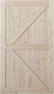 SmartStandard 48in x 84in Sliding Barn Wood Door Pre-Drilled Ready to Assemble, DIY Unfinished Solid Spruce Wood Panelled Slab, Interior Single Door Only, Natural, K-Frame (Fit 8FT Rail)