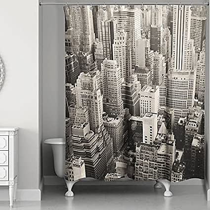 Designs Direct New York City Shower Curtain In White Grey 71quot