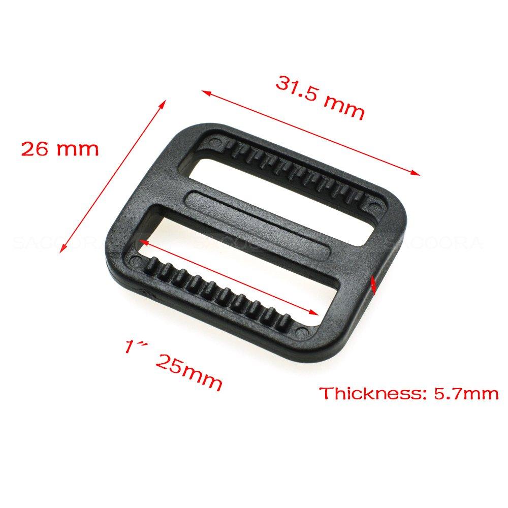 38mm negro 1-1//2 color negro Hebillas de ajuste con tres barras deslizantes de pl/ástico para collar de perro y gato 10 unidades para correas de mochila