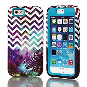 iPhone 6 Case, iPhone 6 4.7inch Case, New, Magicsky iPhone 6 Cases with Galaxy Chevron Anchor Pattern Full Body Hybrid Impact Shockproof Defender Case Cover for Apple iPhone 6 6g (2014), 1 Pack(Galaxy Chevron/Teal) wangjiang maoyi