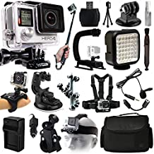 GoPro HERO4 Hero 4 Black Edition Action Camera Camcorder + Selfie Stick + Stabilizer + LED Video Light + Microphone + Chest Strap + Hand/Wrist Glove Strap + Head/Helemet Mount + Case (CHDHX-401)