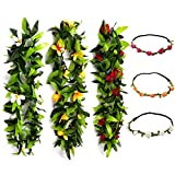 "KUMEED 47"" Tropical Hawaiian Luau Lei Assorted Color Leaf Party Favors Leis Flowers with Headband"