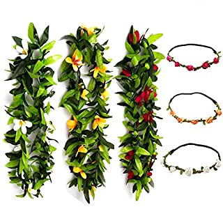 KUMEED 6 PCS Hawaiian Leis Flowers Necklace Headbands Tropical Luau Hawaii for Party Supplies, Beach Party Decorations, Wedding, Birthday Party Favors