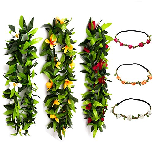 KUMEED 6 PCS Hawaiian Leis Flowers Necklace Headbands Tropical Luau Hawaii for Party Supplies, Beach Party Decorations, Wedding, Birthday Party -