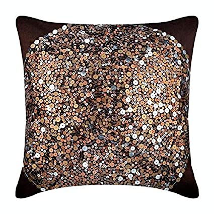 Dark Brown Throw Pillows.Designer Dark Brown Pillow Cases Sequins Glitter Pillows Cover 16 X16 Throw Pillows Cover Square Silk Pillow Covers Geometric Modern Throw
