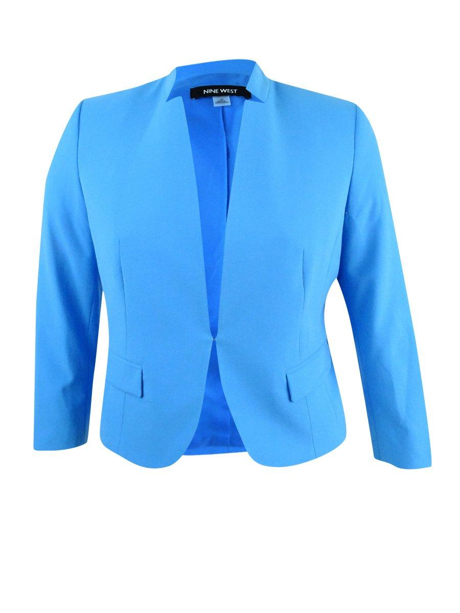 Nine West Women's Plus Size Stand-Collar Blazer (18W, Malibu)