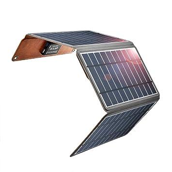 Zuukoo Cargador Solar portátil, Panel Solar de 5V 22W con Puertos USB Dobles a Prueba de Agua Plegable para teléfonos Inteligentes, tabletas y Viajes ...