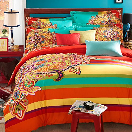 FADFAY 4-Piece Bohemian Bedding Boho Bedding Set Full Size
