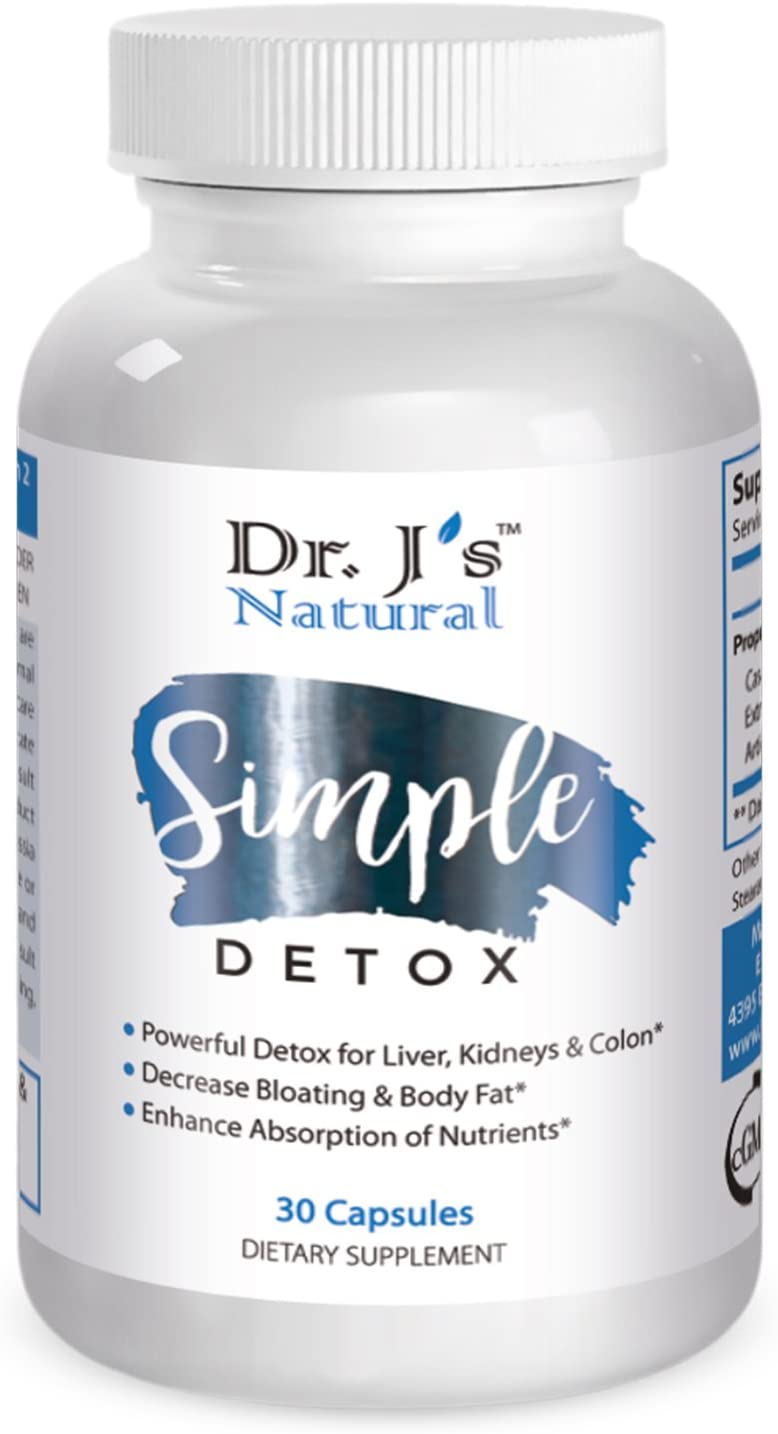 Dr Js Natural Simple Detox – Cleanses Liver, Gradually Increases Energy Levels and Supports in Healthy Weight Loss. 30 Days Supply. 100 Natural Supplements.