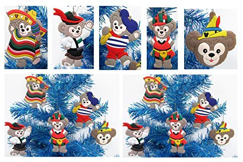 DUFFY THE BEAR 5 Piece Holiday Christmas Ornament Set - Unique Shatterproof Plastic Design