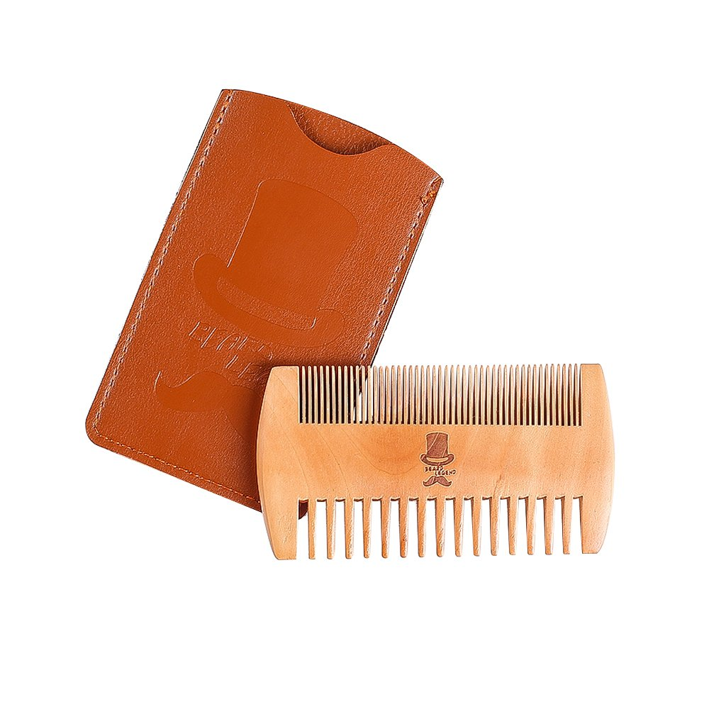 BEARD LEGEND Pocket Comb for Men, Dual Action Fine and Coarse Teeth, Premium Quality Pear Wood, Beard and Mustache Care, Perfect for Balms and Oils wooden beauty