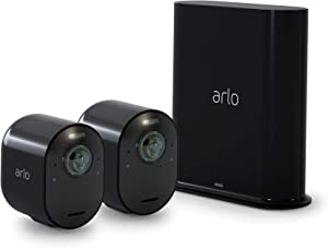 Arlo Ultra 2 Spotlight Camera | 2 Camera Security System | Wire-Free, 4K Video & HDR | Color Night Vision, 2-Way Audio, 6-Month Battery Life| Compatible with Alexa | Black | VMS5240B-200NAS