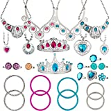 BeYumi 28 Pcs Princess Jewelry Dress-Up Accessories Toy Set With Princess Tiara, Necklace, Rings, Bracelets, Pretend Play Jewelry Gift Set for Girls Birthday Party Favor