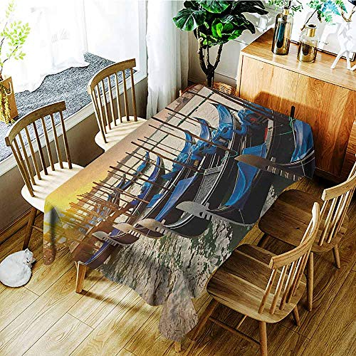 - AndyTours Custom Tablecloth,Venice,Table Cover for Dining,W50x80L Blue Yellow